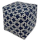 "Majestic Home Goods Links Indoor/Outdoor Bean Bag Ottoman Pouf Cube, 17"" x 17"" x 17"" (Navy Blue)"
