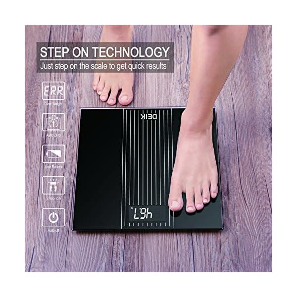DEIK Bilancia Pesa Persona Digitale, LCD Schermo Retroilluminato, includere Metro a Nastro e 2 Batteria AAA, Elettronica… 3 spesavip