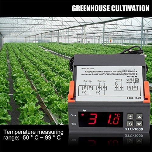 Preisvergleich Produktbild megai Schwarz Digital STC-1000 Allzweck-Temperaturregler Thermostat mit Sensor Temperatur Instrument Diagnose-Tool