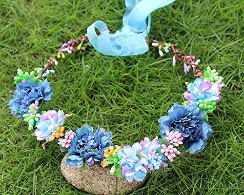 Fang-denghui, Blumengirlande Krone Valentine Hochzeit Haar Kranz Boho Floral Stirnband Kunstblume Kopfbedeckung Krähe einstellbar (Color : 1) (Valentines Kranz)