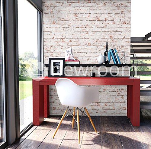 Steintapete Vlies Weiß Rot Edel,  3D Optik für Wohnzimmer, Schlafzimmer, Flur oder Küche, inklusive der Newroom-Tapezier-Profi-Broschüre - 2