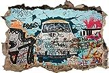 Pixxprint 3D_WD_S2002_92x62 Trabi Graffiti Kunst Wanddurchbruch 3D Wandtattoo, Vinyl, bunt, 92 x 62 x 0,02 cm