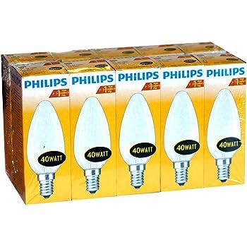 10 x Philips Glühlampe Glühbirne Kerze E14 40W 40 Watt matt 230V Leuchtmittel
