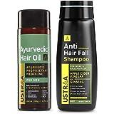Ustraa Ayurvedic Hair Oil - 200ml with 8 Natural Herbs, Controls Hair fall, No mineral oil And Anti Hair Fall Shampoo - 250ml