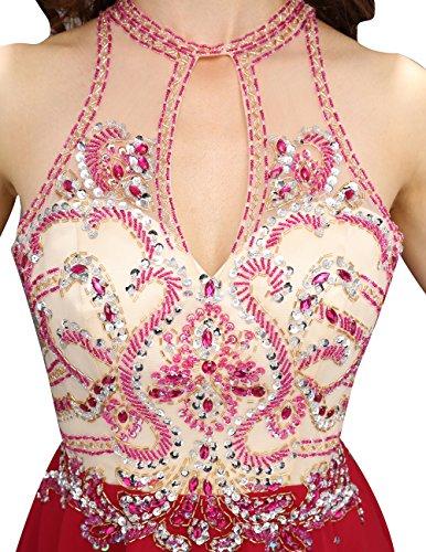Dresstells Robe de soirée de cocktail Robe de demoiselle d'honneur en mousseline dos nu Rouge