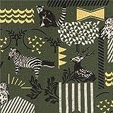 Dunkelgrünes Wachstuch mit Tieren und goldenen Streifen