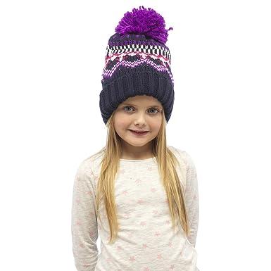 RJM Girls Chunky Knit Fleece Lined Fairisle Bobble Hat: Amazon.co ...