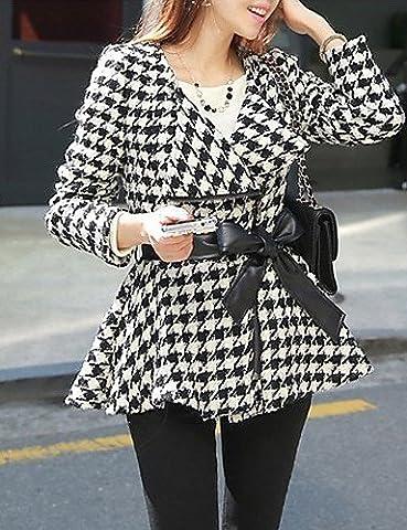 CU@EY HYSHA Fashion Langarm Mantel mit Hahnentrittmuster , screen color , m