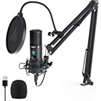 USB Mikrofon Set, MAONO AU-PM421 Gain Regler PC Mikrofon mit Stummschalter &192kHz/24Bit, Professionelles Nieren…