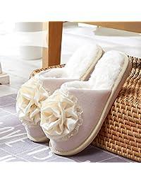 Chanclas Zapatillas de mujer de algodón Zapatillas de casa de interior deslizantes Zapatillas de invierno de invierno (2 colores opcional) (talla opcional)