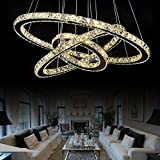 #9: GENERIC 1 ring 30 cm 16W, Cool white : Modern ChandelierLEDCrystal Ring Chandelier Ring Crystal Light Fixture Light Suspension Lumiere LED Lighting Circles Lamp90-260V