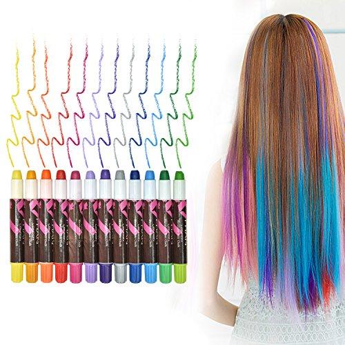 Haarkreide | Haartönung | Haartönung & Gesichtsbemalung Geschenkset Für Mädchen, 12 Farben Tragbare Hair Chalk Set, Sexy Haarkreide, Für Alle Haarfarben Geeignet, für Kinder und Teenager Karneval