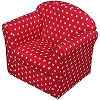 '1home–para niños con blanco estrellas tela sillón sofá asiento taburete rojo rosso