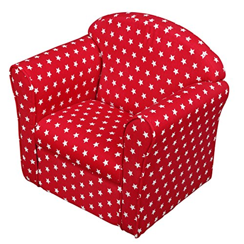 1home Kids Children's Red with White Stars Fabric Tub Chair Armchair Sofa Seat Stool