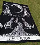 Exclusive Crying Wolf of The Moon Tapestry Wall Hanging Bohemian Bed Sheet ...