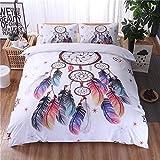 Plumes et cloches Motif tissu très doux 3pcs Ensemble de drap housse de couette Parure de lit comprenant 1housse de couette, 2Taie d'oreiller, cadeau pour Noël, motif 1, Queen(200x200 cm) -for 1.5M bed