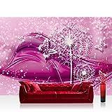 Vlies Fototapete 416x254cm PREMIUM PLUS Wand Foto Tapete Wand Bild Vliestapete - Ornamente Tapete Blume Pusteblume Schmetterling Linien pink - no. 2056