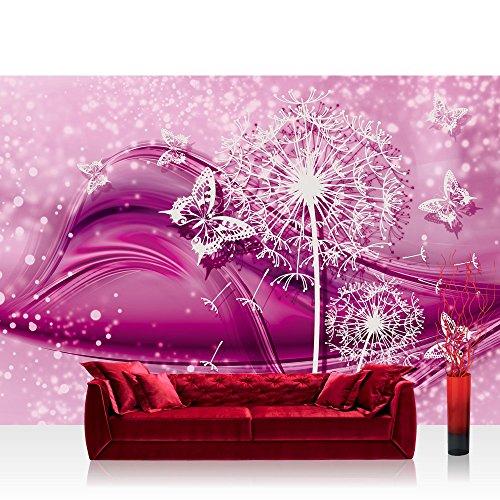Papel Pintado Fotográfico Premium Plus fotográfico pintado-cuadro de pared-Ornamente-Papel pintado líneas flor diente mariposa rosa-No. 2056, Fucsia, Fototapete 368x254cm | PREMIUM Blue Back