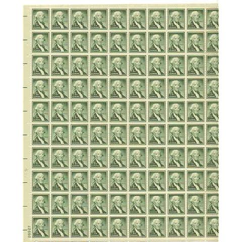 George Washington Full Sheet of 100 - 1 Cent Stamps Scott 1031 by U.S. (Francobolli Washington)