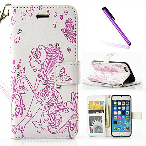 iPhone 6S Hülle,iPhone 6 Hülle Flip Case,iPhone 6 6S Kunstleder Flip Case Schutzhülle,EMAXELERS iPhone 6 Hülle Glitzer Bling Schmetterling Clover Muster Painted PU Leder Wallet Case Flip Cover für iPh Butterfly Girl 2
