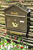 Wandbriefkasten,Briefkasten, Premium-Qualität aus Stahl, verzinkt, pulverbeschichtet Spitzdach S edel messing gold goldfarben Zeitungsfach Zeitungsrolle Postkasten