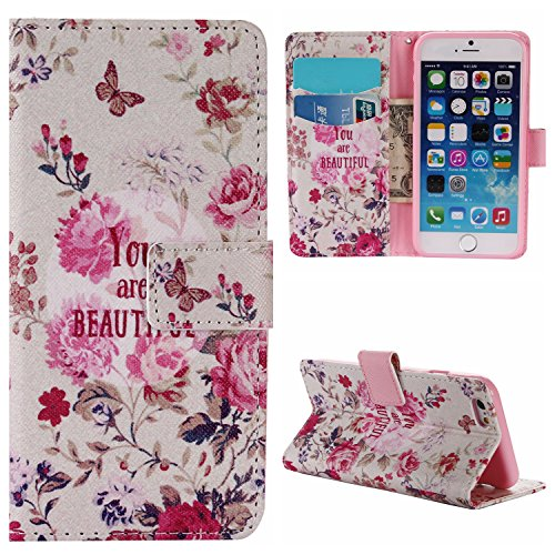 Voguecase® für Apple iPhone SE 5 5S 5G hülle,(Rose/Turm 01) Kunstleder Tasche PU Schutzhülle Tasche Leder Brieftasche Hülle Case Cover + Gratis Universal Eingabestift Beautiful 03