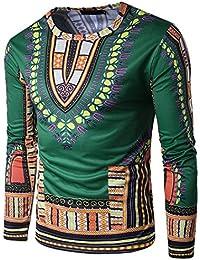 Zhien Camisa Dashiki Festival Camiseta African 3D Print Camisa de Hombre New Fashion Tops Solapa de Manga Larga