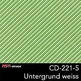 MST-Design Wassertransferdruck Folie I Starter Set Groß I WTD Folie + Dippdivator/Aktivator + Zubehör I 4 Meter mit 50 cm Breite I Carbon Carbon-Look Grün I CD 221-5