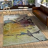 Paco Home Designer Teppich Bunte Abstrakte Muster Hoch Tief Optik Gelb Blau Weiß Meliert, Grösse:80x150 cm