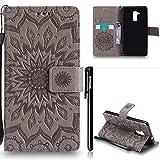 Huawei Honor 5C Hülle Leder,Huawei Honor 5C Flip Case,BtDuck Blume Tasche mit Magnetverschluss, Kartenfach Stand Cover für Huawei Honor 5C Wallet - Grau