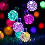 ZWOOS Guirnalda Luces Exterior Solare, 7m 50 LED Luces de Cadena de Bola de Cristal Impermeable con 8 Modos para Navidad, Jar