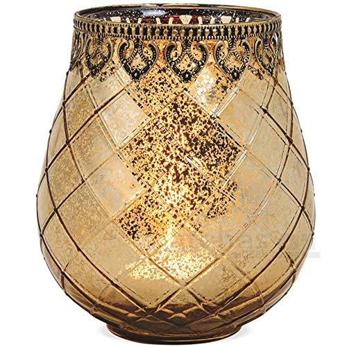 matches21 Windlicht Teelichtglas Kerzenglas Orientalisch Gold antik Glas/Metall Vintage - 3 Größen zur Auswahl - 18 cm
