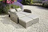 greemotion Rattan-Lounge Bahia Rondo, Sofa & Bett aus Polyrattan, indoor & outdoor, 2er Garten-Sofa mit Stahl-Gestell, Daybed, braun-beige - 6