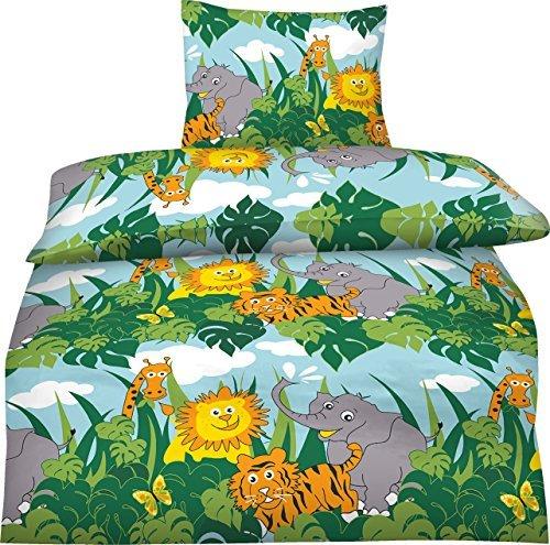 Aminata Kids - Kinderbettwäsche 135x200 Zoo Safari Urwald Bettwäsche Kinder Tiere Jungen Mädchen Dschungel Wilde Tiere Elefant Giraffe Löwe und Tiger