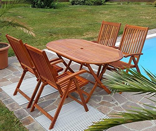 ASS Gartengarnitur Tisch 150x85 cm + 4 Hochlehner 7-fach verstellbar LIMA Eukalyptus Hartholz wie Teak von