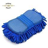 FMS Mikrofaser Autoschwamm Autowäsche Schwamm Reinigungsschwämme Waschhandschuh Weich Korallen Autowaschhandschuh Autowäsche Chenille 1 Stück (Blue)