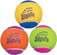 Kong Birthday Air Squeakair  Dog Balls, Medium (Pack of 3)