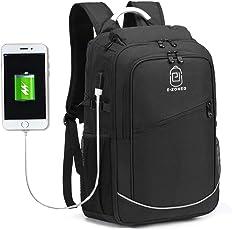 Kebos Laptop Rucksack Business Schulrucksack Herren 12-17 Zoll mit USB Ladeanschluss,Wasserdicht Reiserucksack Jugendliche Backpack Rucksäcke Daypack für Schule Männer Reise-Schwarz