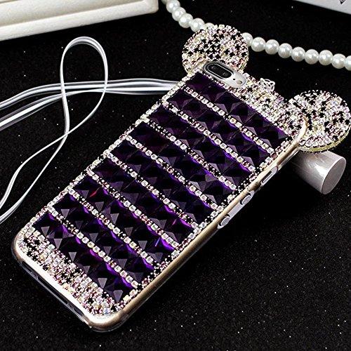QianYang Coque iPhone 8 Plus/ iPhone 7 Plus 5.5 Pouces,Bing Etui iPhone 8 Plus/ iPhone 7 Plus,Strass Diamants en Cristal Housse iPhone 8 Plus/ iPhone 7 Plus Souple Doux TPU Silicone Coque Case Cover Deep Purple