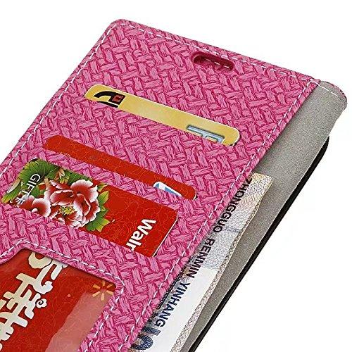 YHUISEN Weave Pattern magnetische Verschluss PU Leder Geldbörse Flip Folio Case mit Card Slot Ständer Schutzhülle für Samsung Galaxy Note 8 ( Color : Pink ) Pink