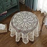 Tischdecke Vintage Gehäkelte Tischdecke Beige Tischdecken Couchtisch TV Schrank Runde Tischdecken ( Farbe : Beige , größe : Round-130cm )