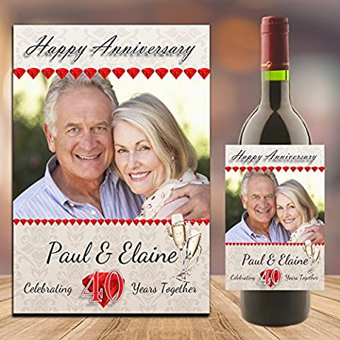 Personalised Ruby 40th Wedding Anniversary WINE / CHAMPAGNE BOTTLE PHOTO