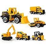 Mini Construction Toys Sets, Hamkaw 1:64 Scale Metal Dump Truck Tractors Forklift Bulldozer Road Roller Digger Excavator...