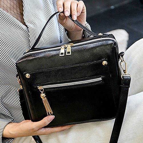 Longra Donne Diagonale singola spalla della borsa Nero