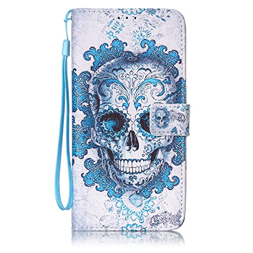 Coque Huawei P9 Lite, Meet de pour Huawei P9 Lite Folio Case ,Wallet flip étui en cuir / Pouch / Case / Holster / Wallet / Case, Huawei P9 Lite PU Housse / en cuir Wallet Style de couverture de cas Co blue Skull
