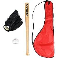 Latinaric Kit De Baseball Pour Enfant Ensemble Set De Batte De Baseball En Bois 60 CM & Balle De Baseball & Gant