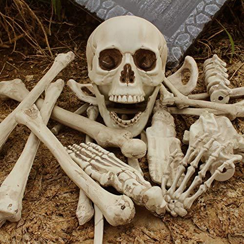 Behogar 12 stücke Scary Künstliche Harz Menschlichen Skelette Gebrochenen Knochen Schädel für Haunted Hause Halloween-Party Requisiten Dekoration