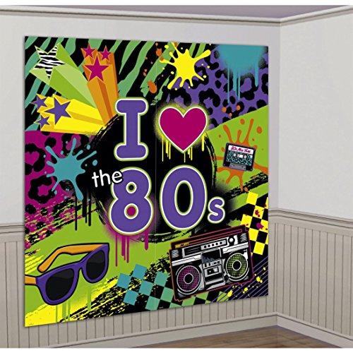 165x 165 cm 80`s Wanddeko 80er Jahre Party Wandbild Mottoparty Wandfolie Wanddekoration Folienbild Retro Raumdeko