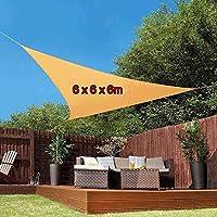 YLA Triangle Sun Shelter Sombra de Playa Vela Ultraligero Impermeable Sombrilla para Acampar al Aire Libre 3mx3mx3m 4mx4mx4m Piscina de jardín, 6 x 6 x 6m Naranja
