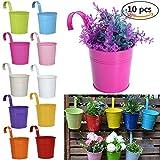 YIY Colorful Metall Eisen Blumentopf Vase Zum Aufhängen Eimer Töpfe Balkon Garten Pflanzgefäß Home Decor Set von 10